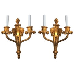 Exceptional Pair of French Doré Bronze Fine Neoclassical Flame Top Sconces