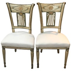 Exceptional Pair of French Period Directoire Side Chairs