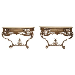 Exceptional Pair of French Wrought Iron Consoles with Marble Tops, Circa 1880