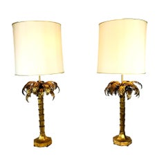 Exceptional Pair of Gold Gilded Palm Tree Lamps