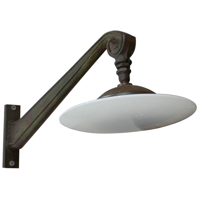 Exceptional Pair of Industrial Opaline Wall Lights For Sale