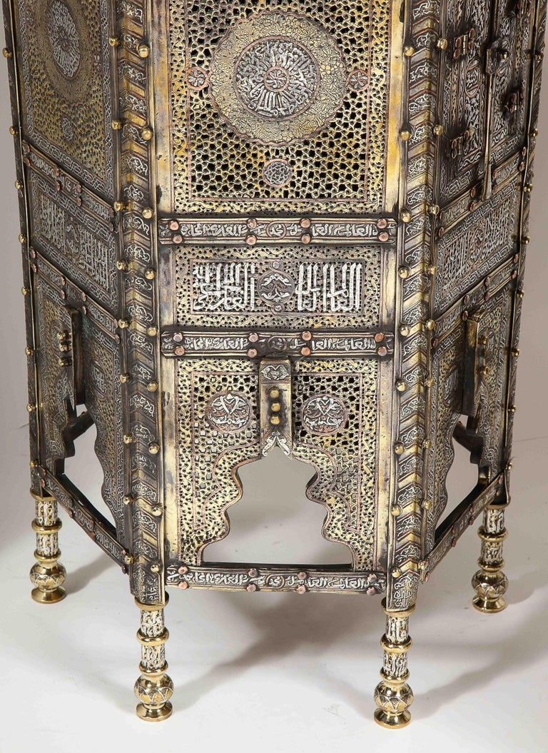 Exceptional Pair of Islamic Mamluk Revival Silver Inlaid Quran Side Tables For Sale 5