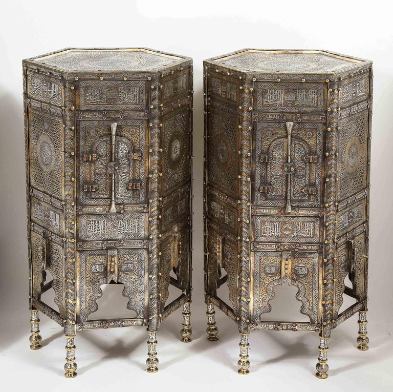 Syrian Exceptional Pair of Islamic Mamluk Revival Silver Inlaid Quran Side Tables For Sale
