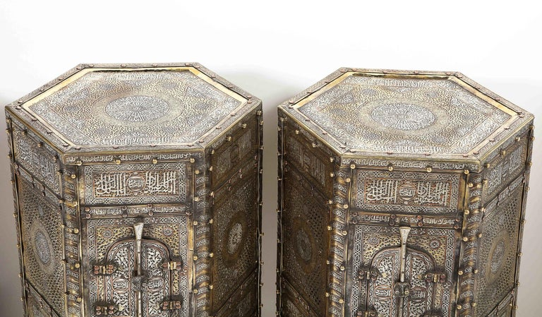 20th Century Exceptional Pair of Islamic Mamluk Revival Silver Inlaid Quran Side Tables For Sale