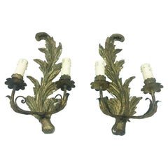 Exceptional Pair of Italian Giltwood Wall Appliques