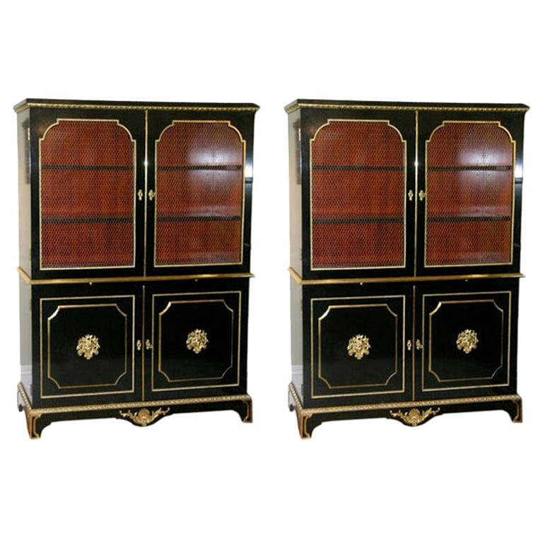 Exceptional Pair of Jansen Louis XVI Style Bookcases For Sale