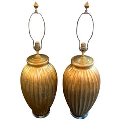 Exceptional Pair of Karl Springer Fluted Gold Venetian Vases Lamps Lucite Bases