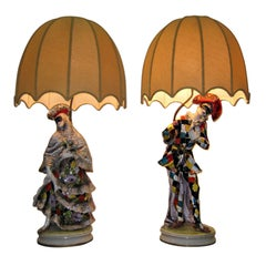 Exceptional Pair of Large Masquerade Table Lamps