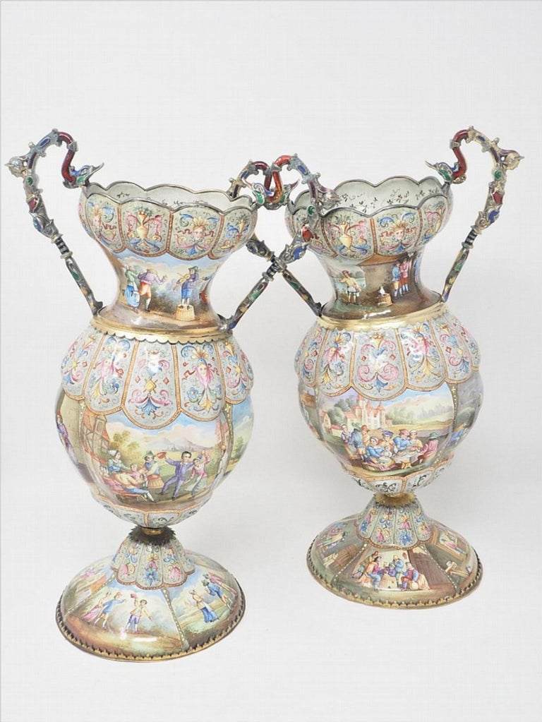 Exceptional pair of large silver mounted Viennese enamel vases by Rudolf Linke,