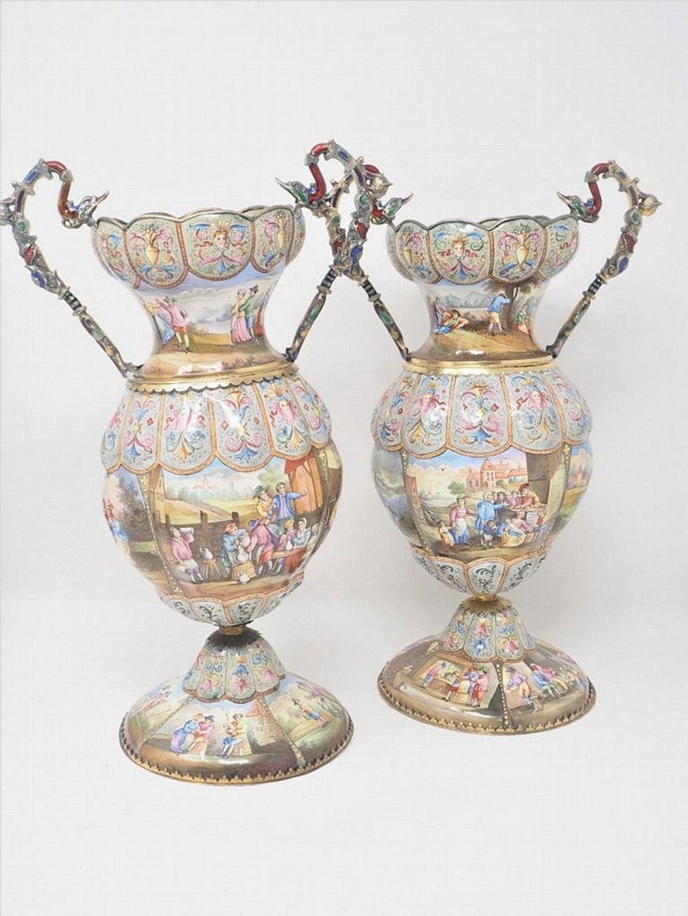 Austrian Exceptional Pair of Large Silver Mounted Viennese Enamel Vases by Rudolf Linke For Sale