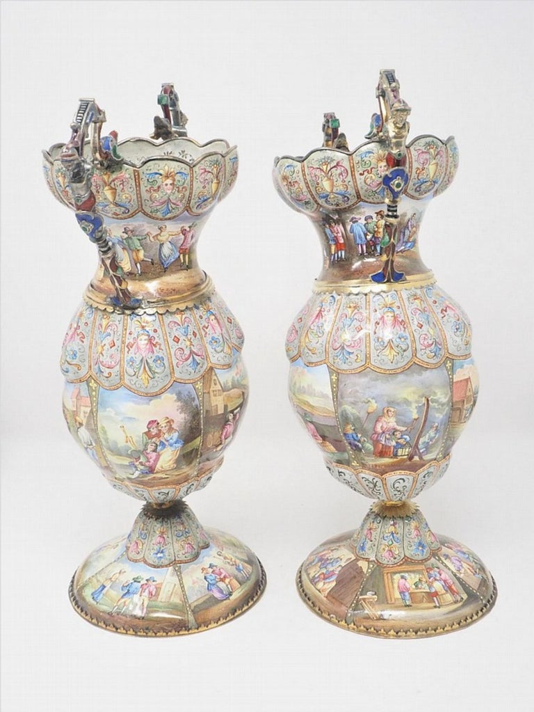 Exceptional Pair of Large Silver Mounted Viennese Enamel Vases by Rudolf Linke In Good Condition For Sale In New York, NY