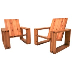 Exceptional Pair of Lounge Chairs in Pinewood by Ate Van Apeldoorn, 1970s
