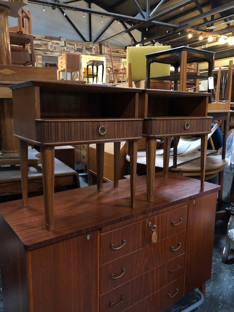 Swedish Exceptional Pair of Mahogany Night Stands or End Tables For Sale
