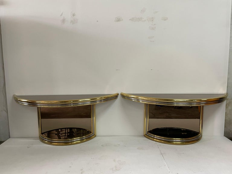 Exceptional Pair of Mixed-Metal Demilune Consoles For Sale 5