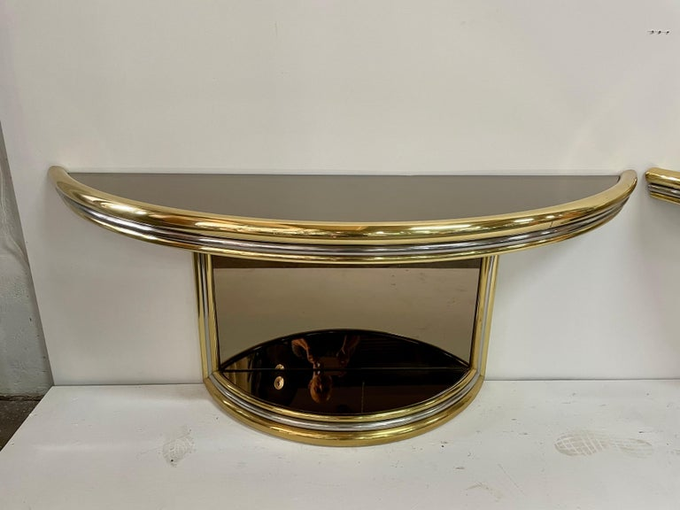 Mid-Century Modern Exceptional Pair of Mixed-Metal Demilune Consoles For Sale