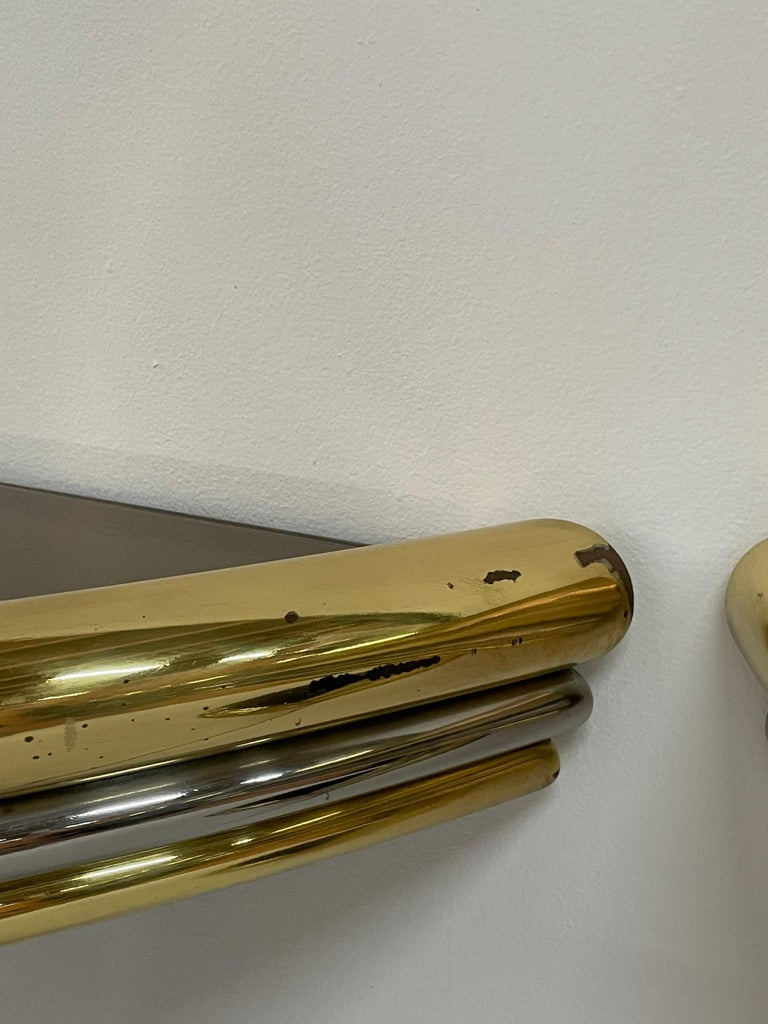 Exceptional Pair of Mixed-Metal Demilune Consoles In Good Condition For Sale In East Hampton, NY