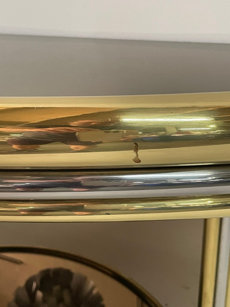 Brass Exceptional Pair of Mixed-Metal Demilune Consoles For Sale