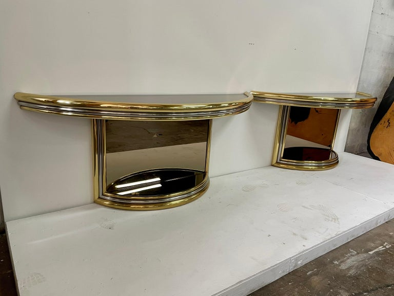 Exceptional Pair of Mixed-Metal Demilune Consoles For Sale 1