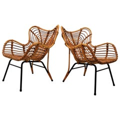 Exceptional Pair of Rattan Loungechairs in the Style of Viggo Boesen
