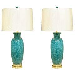 Exceptional Pair of Restored Italian Ceramic Lamps in Turquoise, circa 1960
