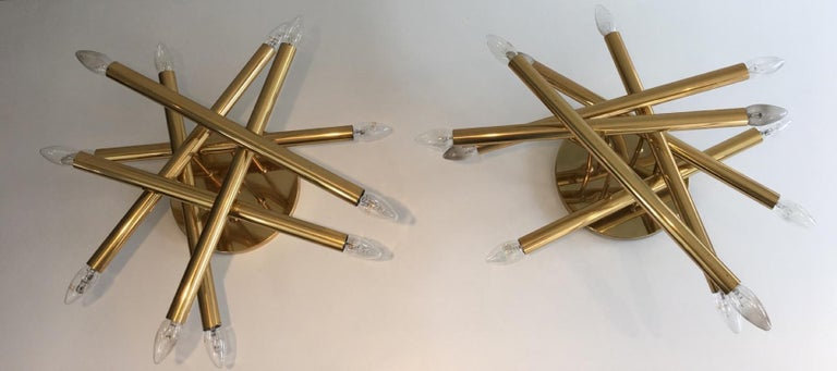 Exceptional Pair of Twelve Lights Gilt Brass Design Fixtures, French For Sale 9