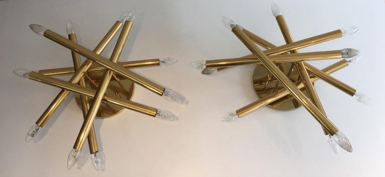 Mid-Century Modern Exceptional Pair of Twelve Lights Gilt Brass Design Fixtures, French For Sale