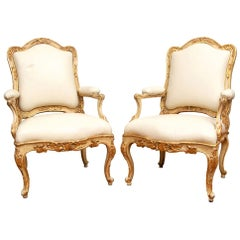Exceptional Pair of Very Fine Late 18th Century Venetian Open Armchairs