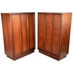 Exceptional Pair of Walnut Cabinets by John Keal for Brown Saltman