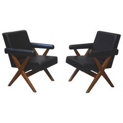 Exceptional pair of X-Leg Armchairs by Pierre Jeanneret