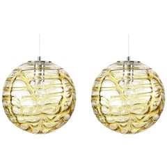Exceptional Pair of Xl Murano Glass Pendant Lights Venini Style