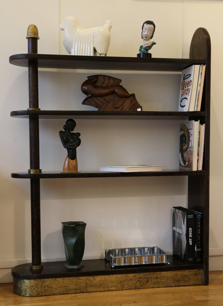 French Exceptional Palmwood Bookcase by Eugène Printz, Art Deco, France, 1930s For Sale
