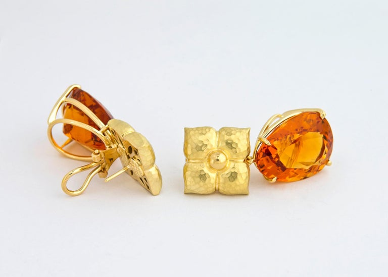 Paloma Picasso creates wearable art. She has combined rich textured gold and vivid faceted citrine to create this bold chic statement piece. 1 1/2 inches in length.