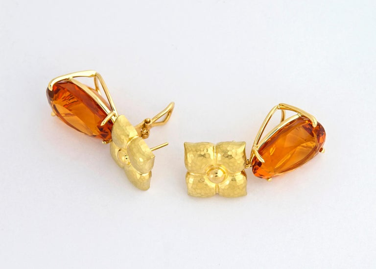 Paloma Picasso for Tiffany & Co. Gold and Citrine Earrings In Excellent Condition For Sale In Atlanta, GA