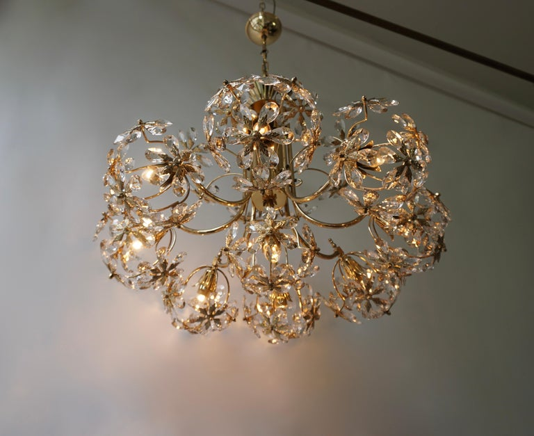 German Exceptional Palwa Gilt Brass Crystal Glass Flower Ball Chandelier, circa 1970 For Sale