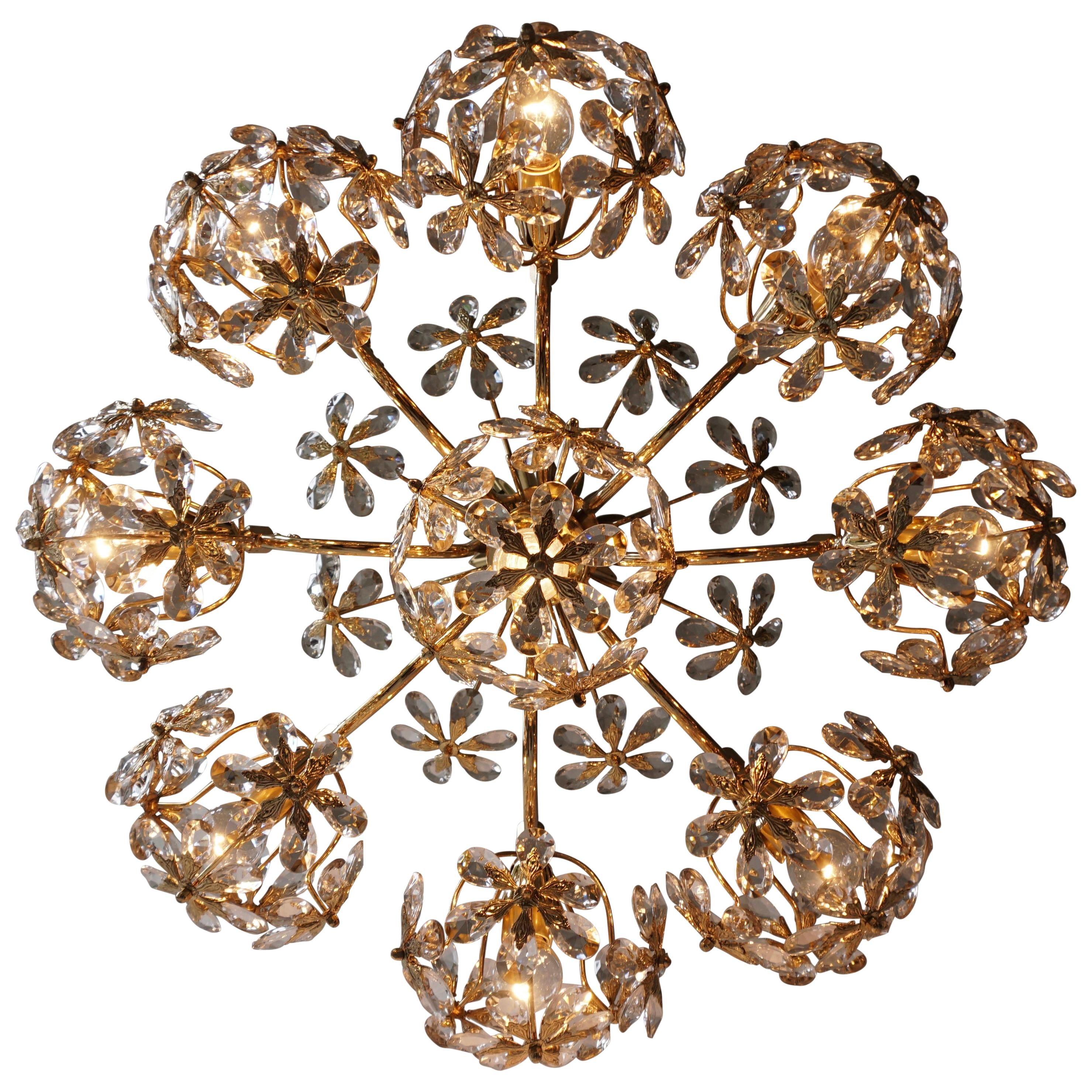 One of Two Exceptional Palwa Gilt Brass Crystal Glass Flower Ball Chandelier