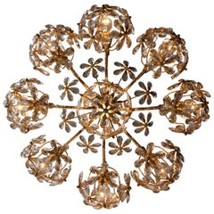 Two Exceptional Palwa Gilt Brass Crystal Glass Flower Ball Chandelier 1970