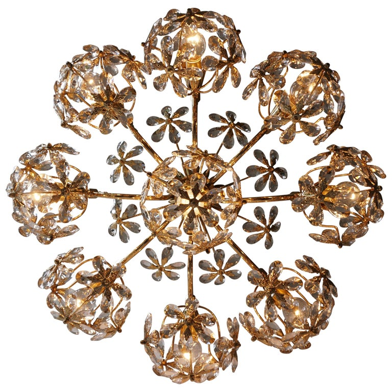 Exceptional Palwa Gilt Brass Crystal Glass Flower Ball Chandelier, circa 1970 For Sale