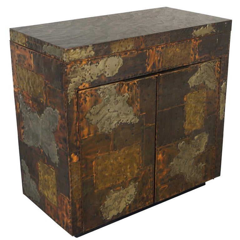 Exceptional Patchwork Flip-Top Bar Cabinet by Paul Evans For Sale
