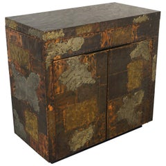 Vintage Patchwork Flip-Top Bar Cabinet by Paul Evans