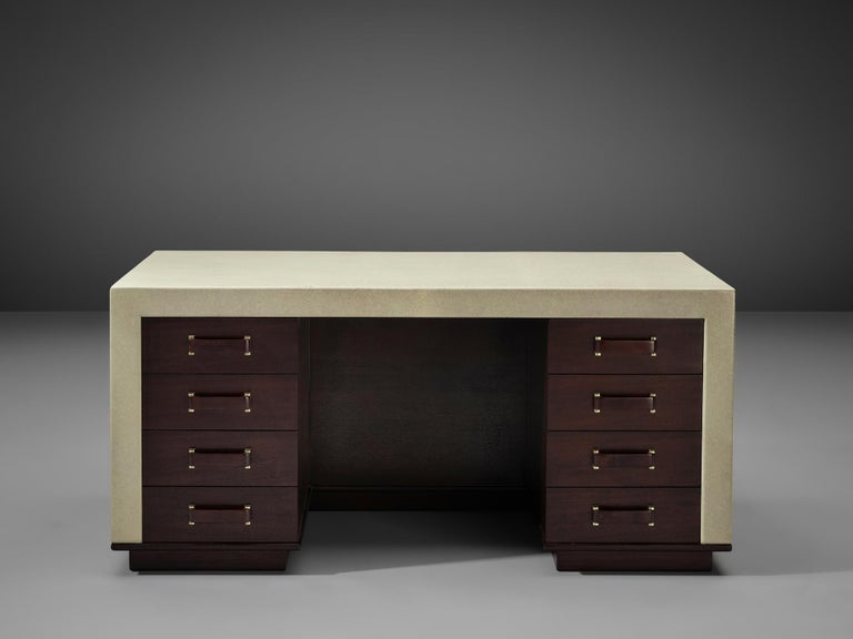 American Exceptional Paul Frankl Free-Standing Desk in Mahogany and Cork For Sale