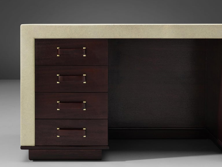 Exceptional Paul Frankl Free-Standing Desk in Mahogany and Cork For Sale 3