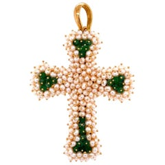 Exceptional Pearl and Emerald Gold Cross Pendant Fine Estate Jewelry