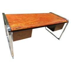 Exceptional Peter Protzman African Zebrawood Desk Herman Miller Midcentury