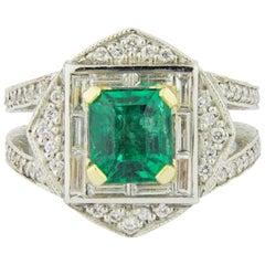 Exceptional Platinum, Emerald and Diamond Ring