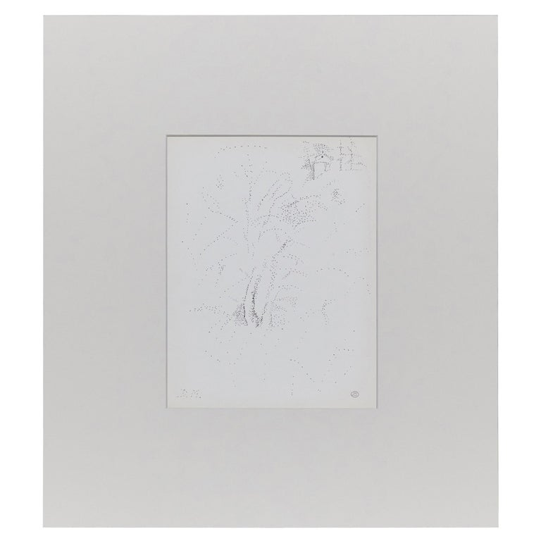 Exceptional Pointillist Drawing by Dora Maar, circa 1960 For Sale