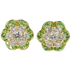 Exceptional Quality 1.08 Carat Diamond Demantoid Garnet Stud Earrings