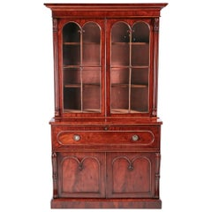 Exceptional Quality Antique William IV Mahogany Secretaire Bookcase