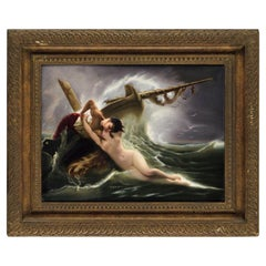 "Exceptional Quality Berlin K.P.M Porcelain Plaque ""Kiss of the Wave"", F. Wagner"