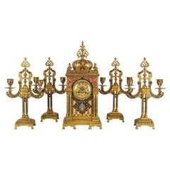 Exceptional Quality Bronze Mounted Champlevé Enamel Clockset in Morish Style