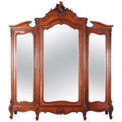 Exceptional Quality French Carved Walnut Louis XV Armoire